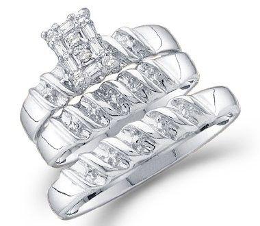 Diamond Rings Set White Gold Bridal Engagement Wedding Men & Womens |  |mens wedding rings