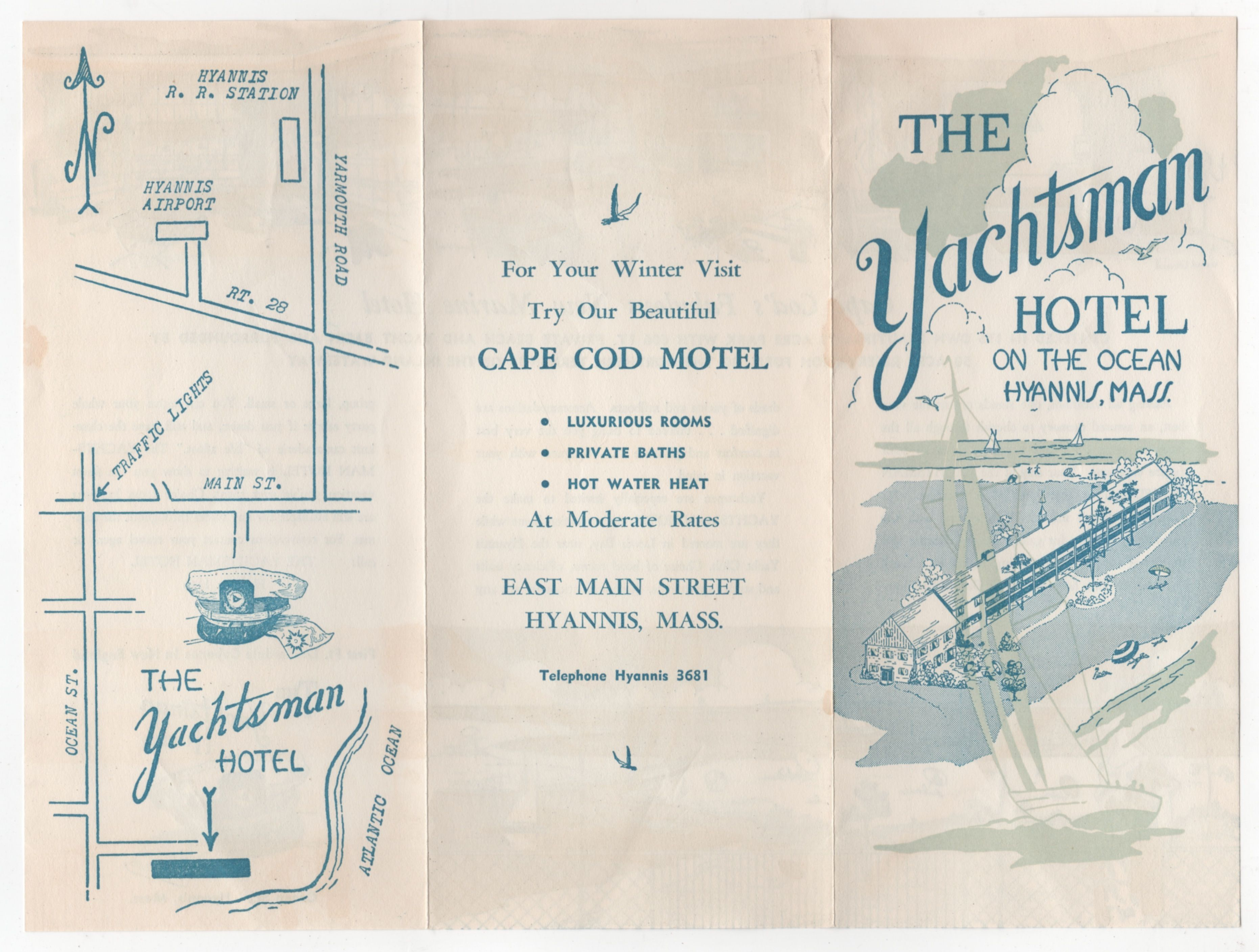 1956 brochure for the The Yachtsman Hotel in Hyannis, Mass. on Cape Cod