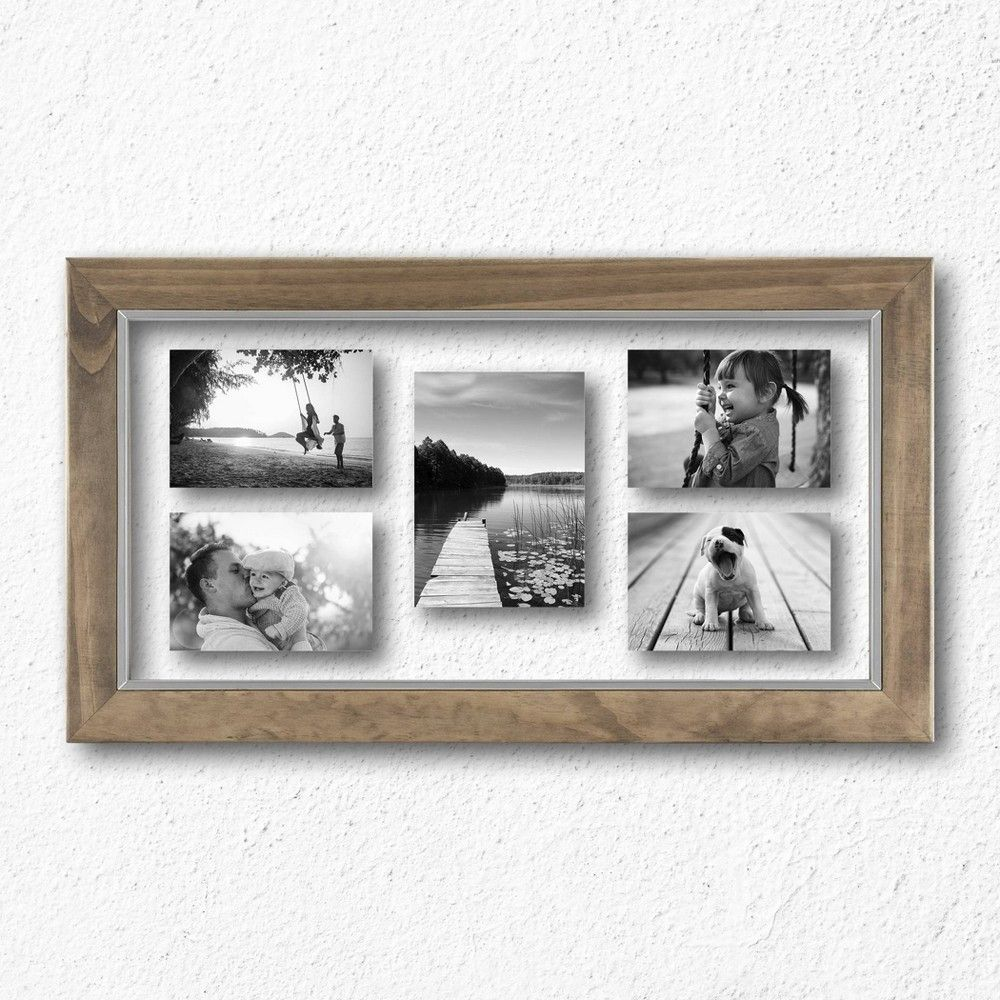 10 X 20 Wood And Metal Edge Multiple Opening Float Frame Brown Threshold In 2020 Multiple Picture Frame Wood And Metal Frame