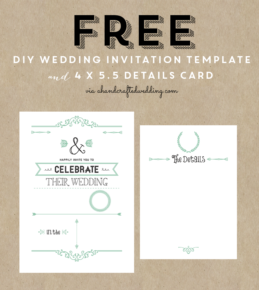 FREE Printable Wedding Invitation Template   All Things