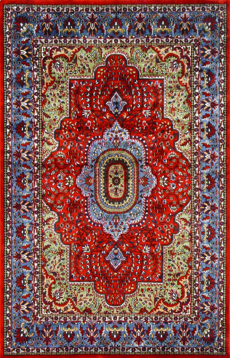 Our Transitional Rugsville Kashmir Medallion Orange Light Blue Silk Rug 11014 Online Today And Choose From A Wide Range Of Colours Sizes