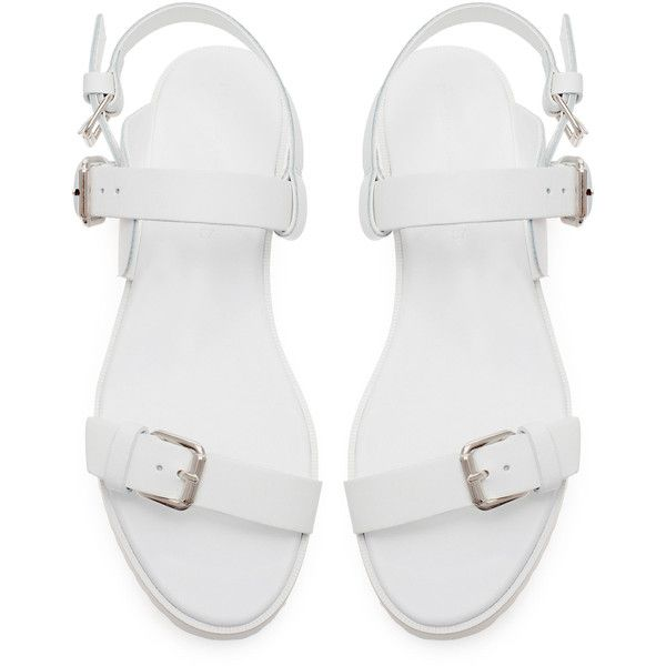 Zara Flat Sandal With Buckle (700 THB) ❤ liked on Polyvore