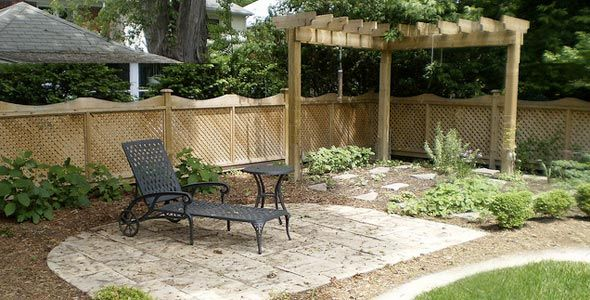 Open pergola idea use the wrought iron frames as top and for Open yard landscaping ideas