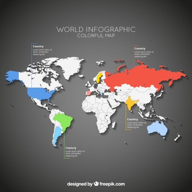 Creative world map and infographics vector graphics 04 free free - fresh world map with all countries vector