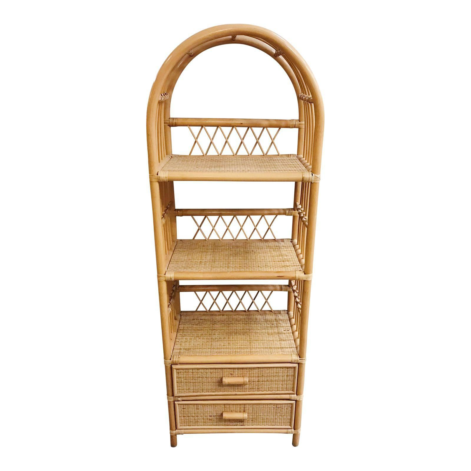 Vintage Rattan Etagere Shelf Unit With Drawers Image 1 Of 7 Home Design Decor Space Decor Rattan