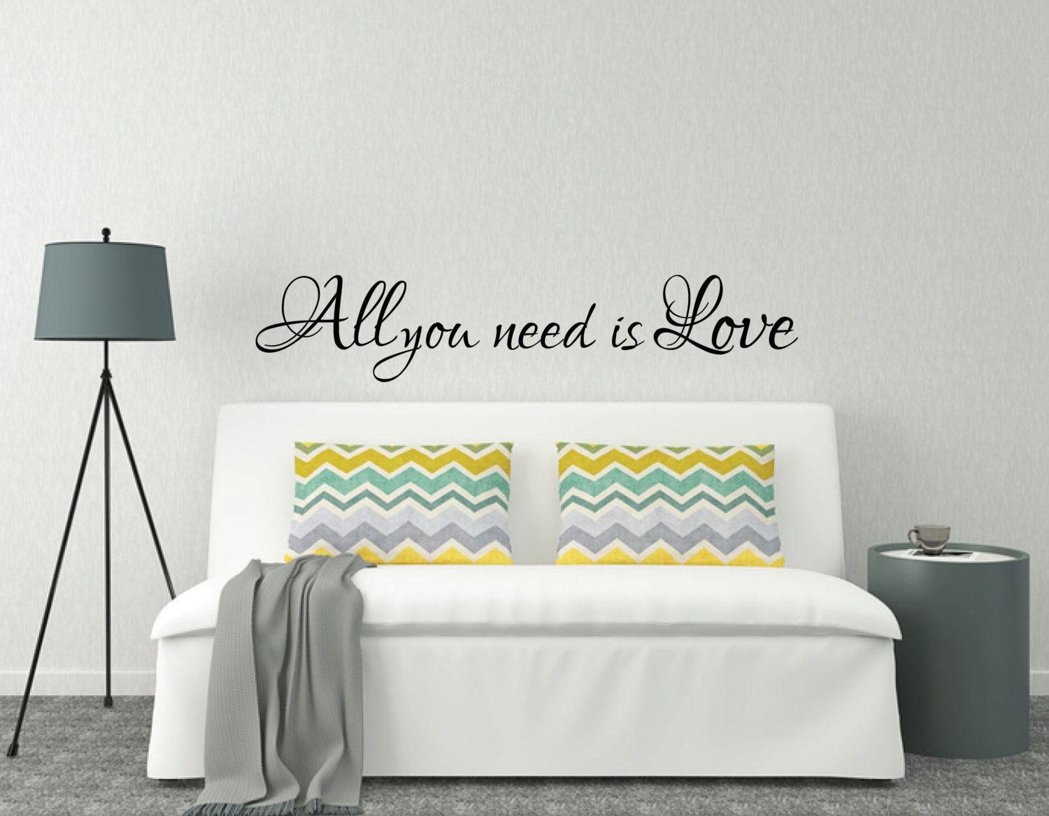 Love Bedroom Decor Above Bed Wall Sticker Love Quote All You Need Is Love L Over