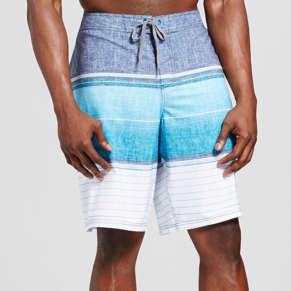 6a7f8d14e6c31 Mossimo Supply Co., Men's Big & Tall Stripe Board Shorts Blue 44 ...