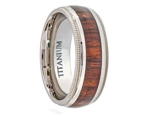 Domed Titanium Ring With Hawaiian Koa Rosewood Inlay and Milgrain Edges 8mm - Select Wedding Rings