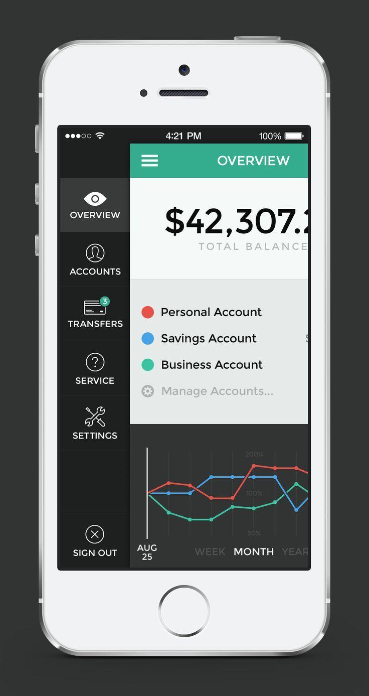 Banking App Menu Transactions Дизайн