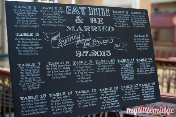 Hand Drawn Painted Wedding Seating Chart Sign Calligraphy 24 X36 Wood