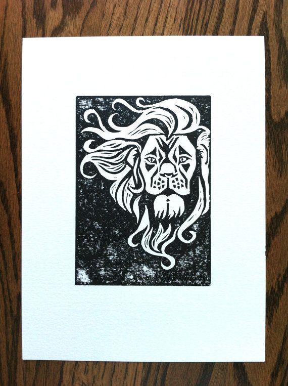 Mountain Lion Original Linocut