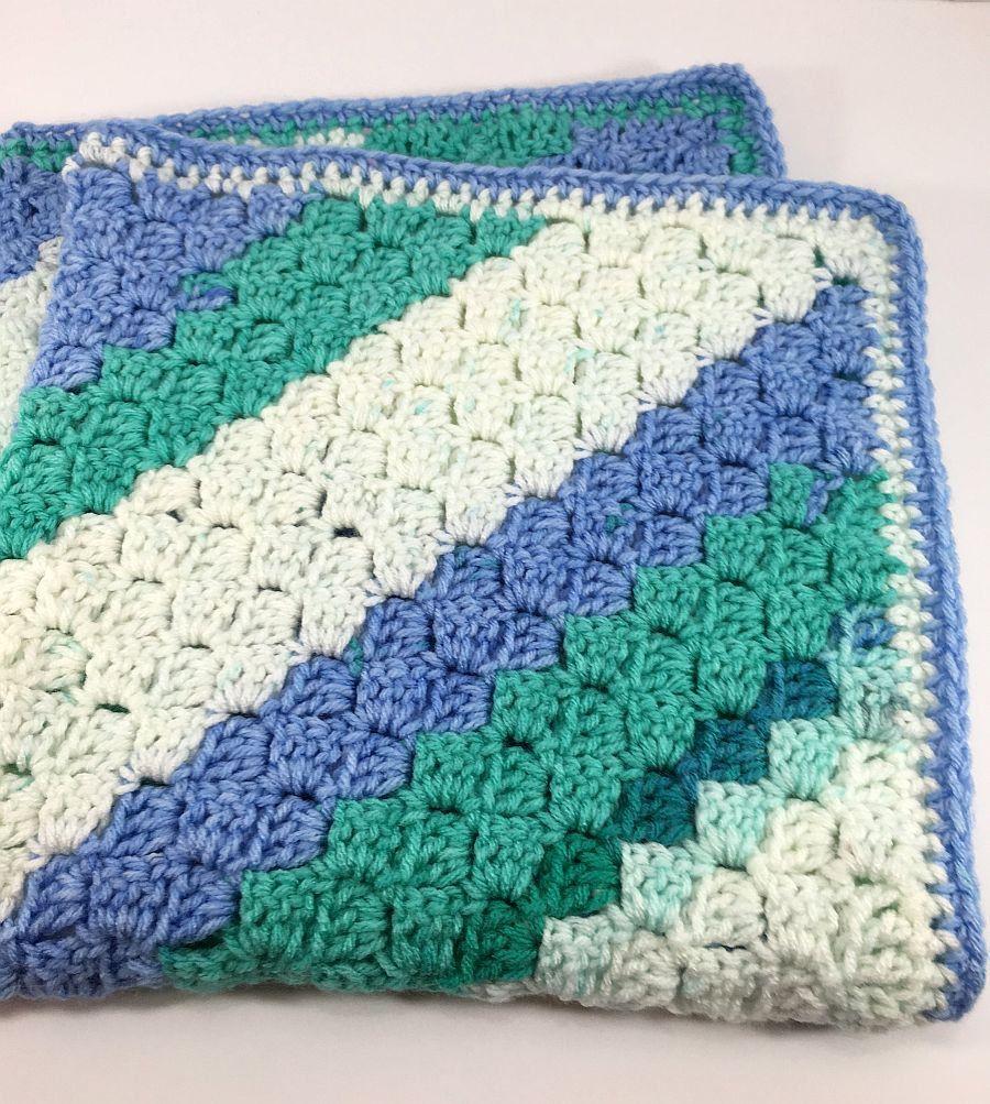 Spearmint C2C Blanket,  Blue, Teal and White Colors Crochet Blanket, Afghan, Baby Blanket, Throw Blanket Corner 2 Corner, CA#22 by MonaSewingTreasures on Etsy