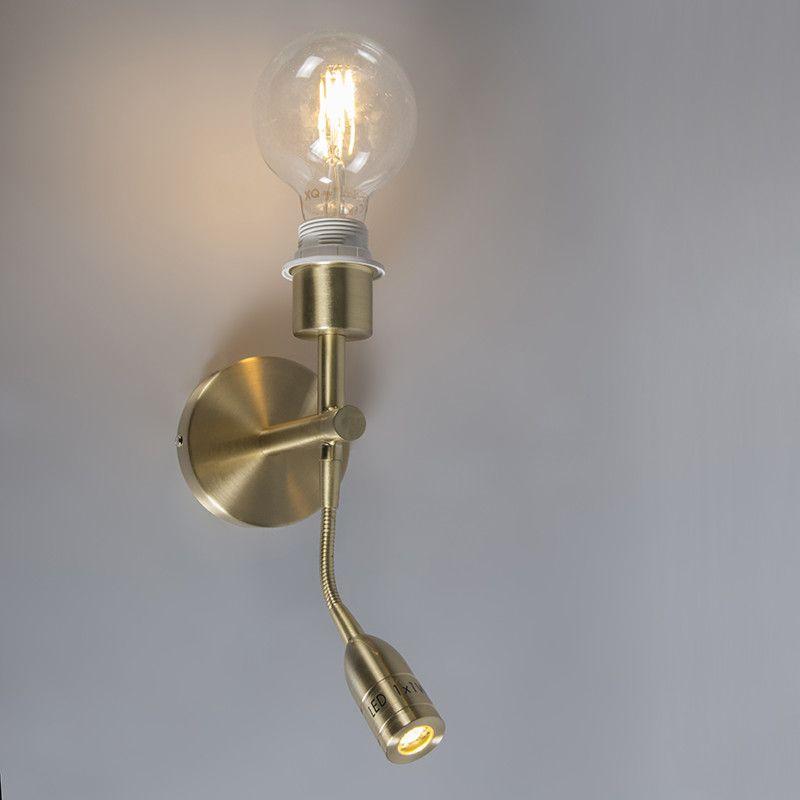 Wandlamp Combi 1 + LED leeslamp goud zonder kap