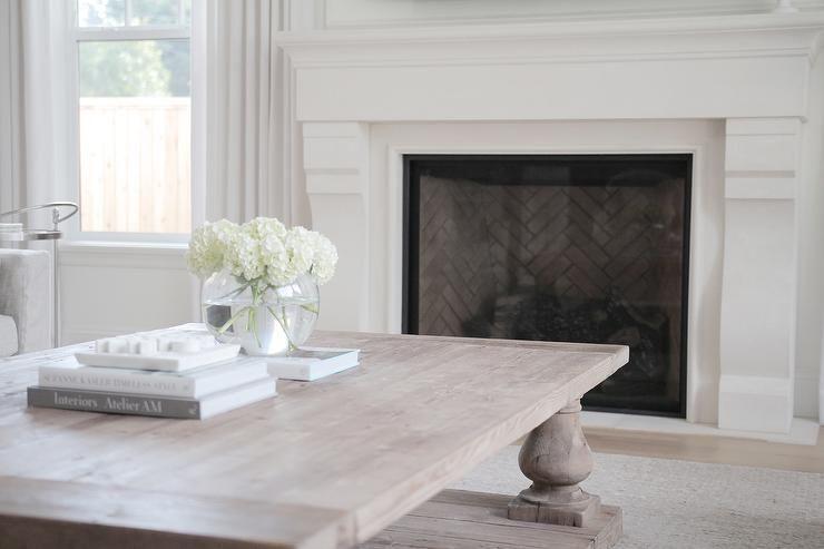 Jshomedesign Custom Limestone Mantel With Herringbone Details Restoration Hardware Coffee Ta In 2020 Hamptons Style Living Room Living Room White Neutral Living Room