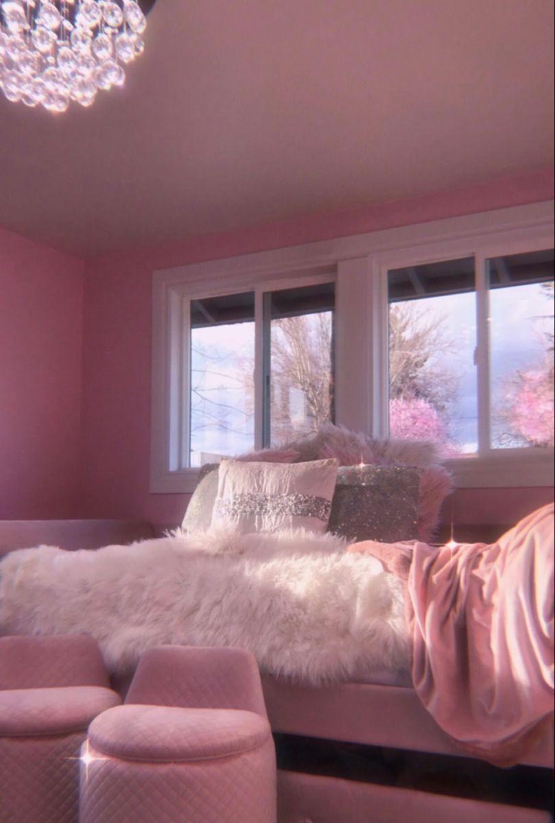 Baby Pink Vibey Room In 2020 Room Ideas Bedroom Pink Wallpaper Bedroom Aesthetic Bedroom