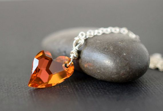 Mango Heart Necklace Swarovski Crystal Heart Pendant Astral Pink Necklace Orange Crystal Necklace Sterling Silver Mothers Day Mom Gift