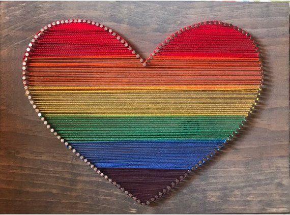 Rainbow Heart String Art