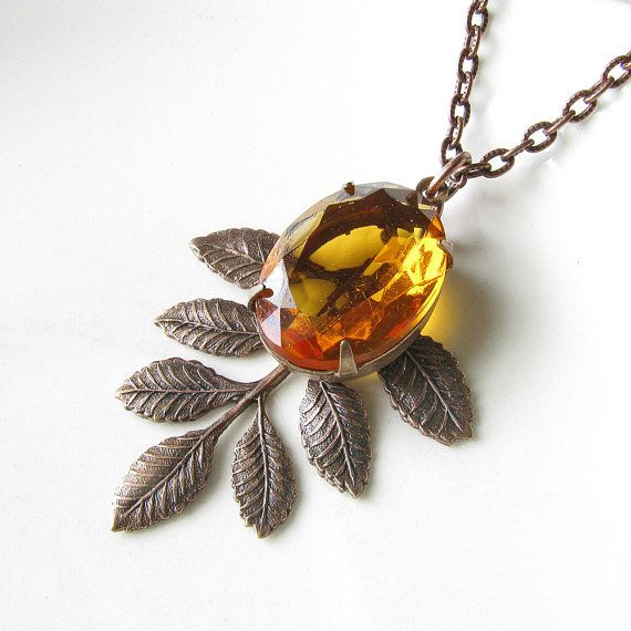 Topaz Vintage Glass Jewel Necklace in Antiqued Copper - 16 inch
