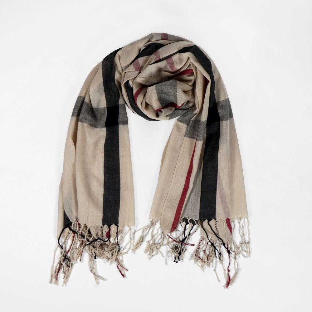 Grand foulard beige à carreaux noir et rouge   Foulards   écharpes ... 0688b901c88