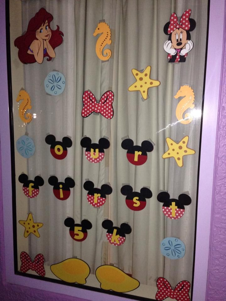 Window decoration from our princess 5k in disney last week for Hotel door decor
