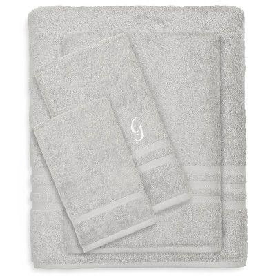 Linum Home Textiles Denzi 4 Piece Towel Set Color: Gray, Letter: G