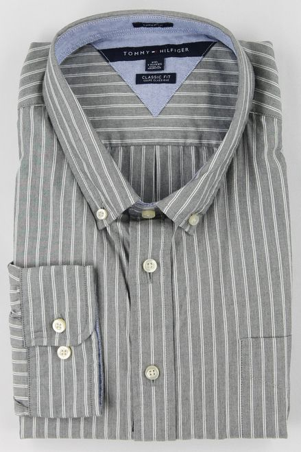 Tommy Hilfiger Men's Quiet Shade Gray Long Sleeve Button Up Shirt #tommy #hilfiger #grey #stripe #men