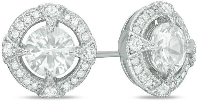 Zales 6.0mm Lab-Created Aquamarine and White Sapphire Pavé Frame Stud Earrings in Sterling Silver eiwQtMx6BN