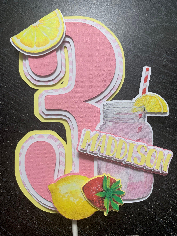 Pink Lemonade Cake Topper - Pink Lemonade centerpiece - Pink Lemonade topper - Pink Lemonade birthday - Pink Lemonade birthday decorations