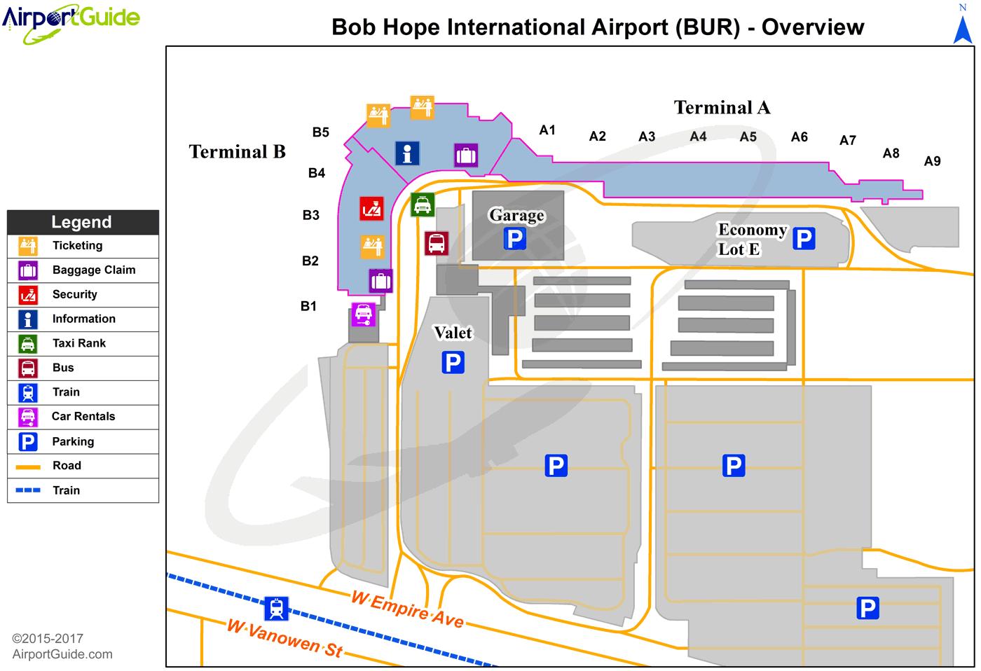 Burbank Bob Hope Bur Airport Terminal Map Overview