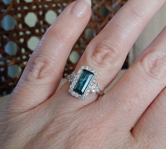Emerald Halo Blue Teal Tourmaline Diamond Flower by PenelliBelle