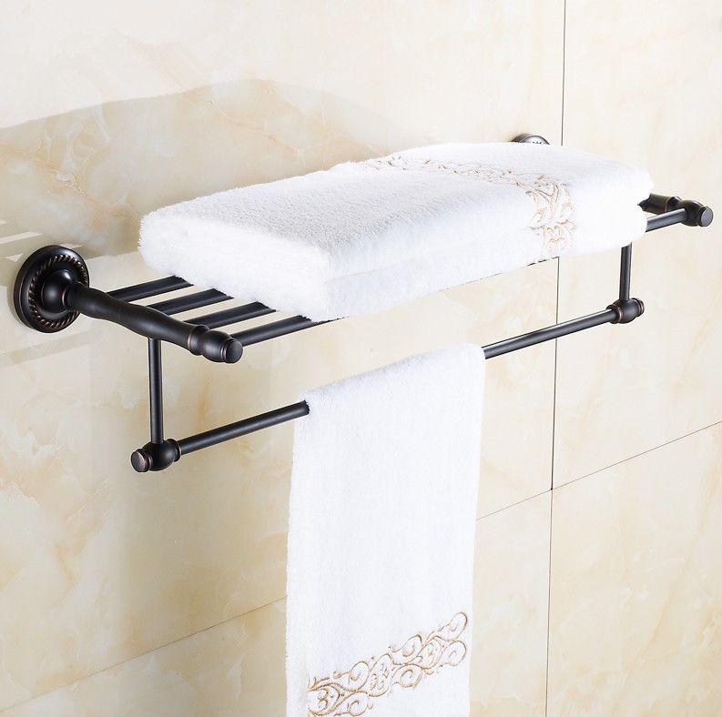 fashion antique brass black towel rack bathroom luxury accessories towel bars shelf bronze vintage