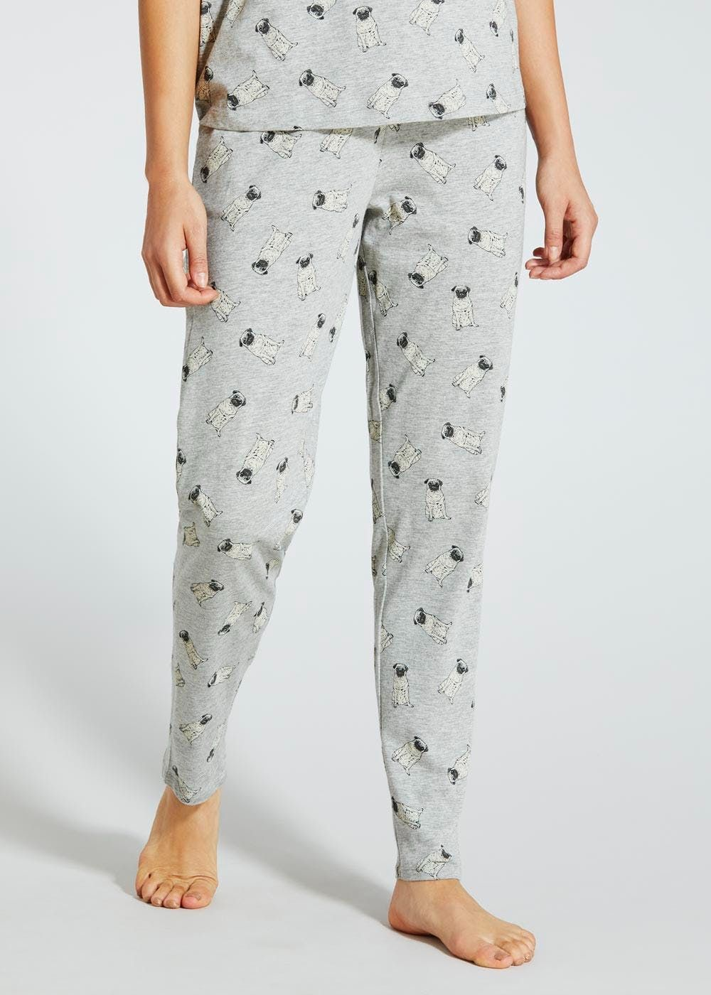f49d512542 Pyjama bottoms in grey marl with a pug all over print. Featuring an  elasticated waist