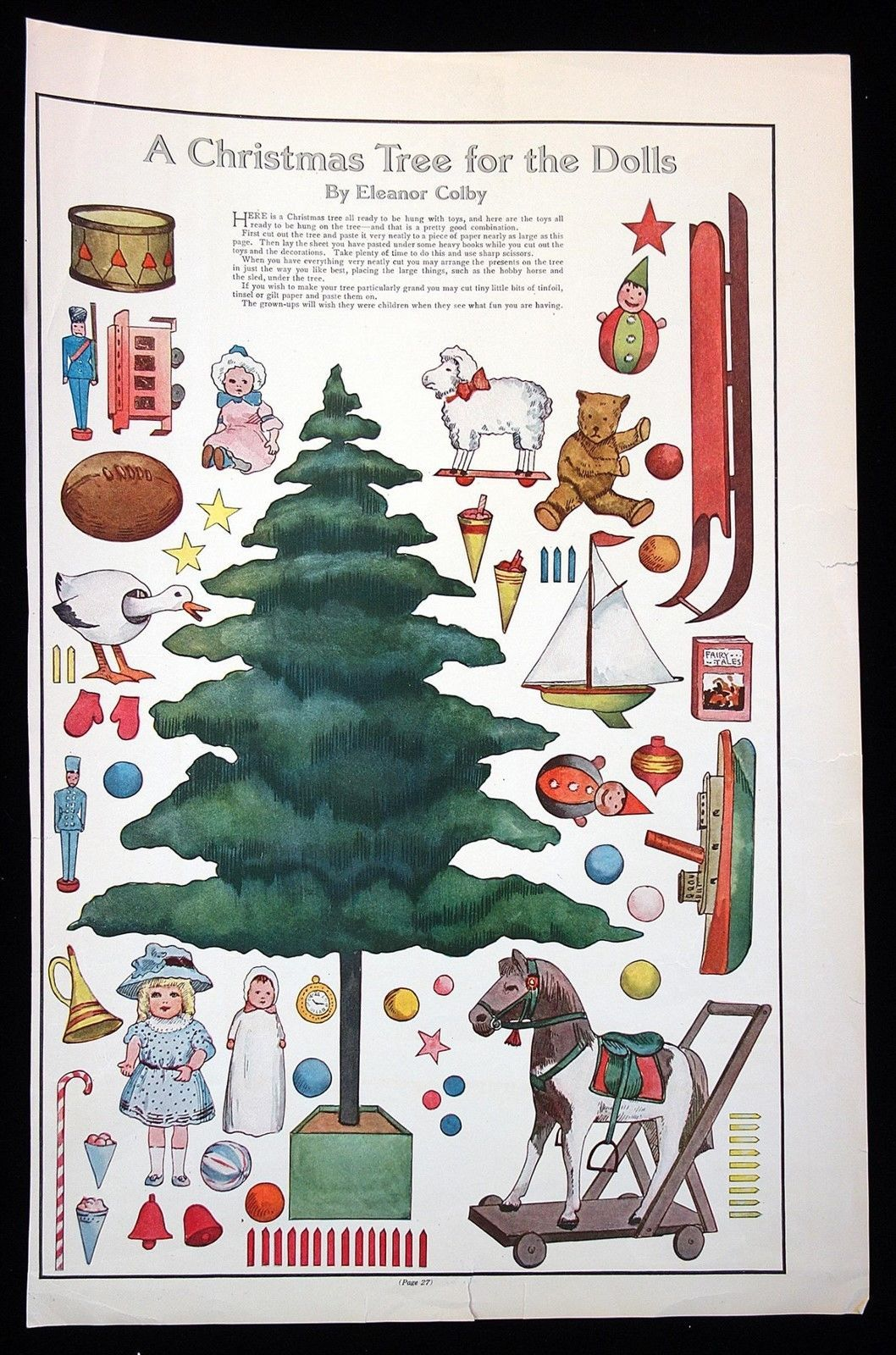 Magazine Paper Doll A Christmas Tree For The Dolls By Eleanor Colby 1911 Victorian Paper Dolls Paper Toys Paper Dolls