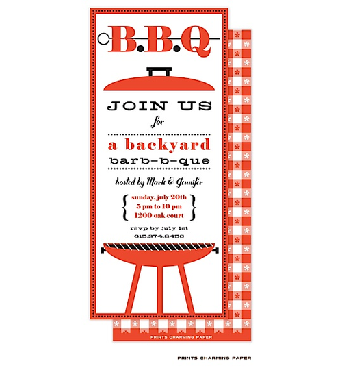 This Barbecue invitation features a barbecue grill and the back is printed in a red and white checked pattern.