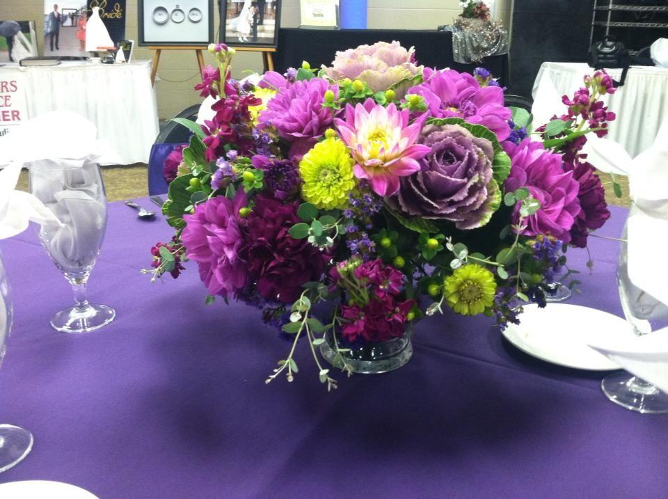 Purple and lime green arrangement ( bridal show )