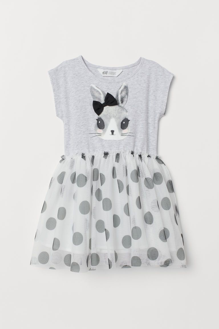 df3fdb21f H&M Dress with Tulle Skirt - Gray | girl clothes | Dresses, Skirts ...