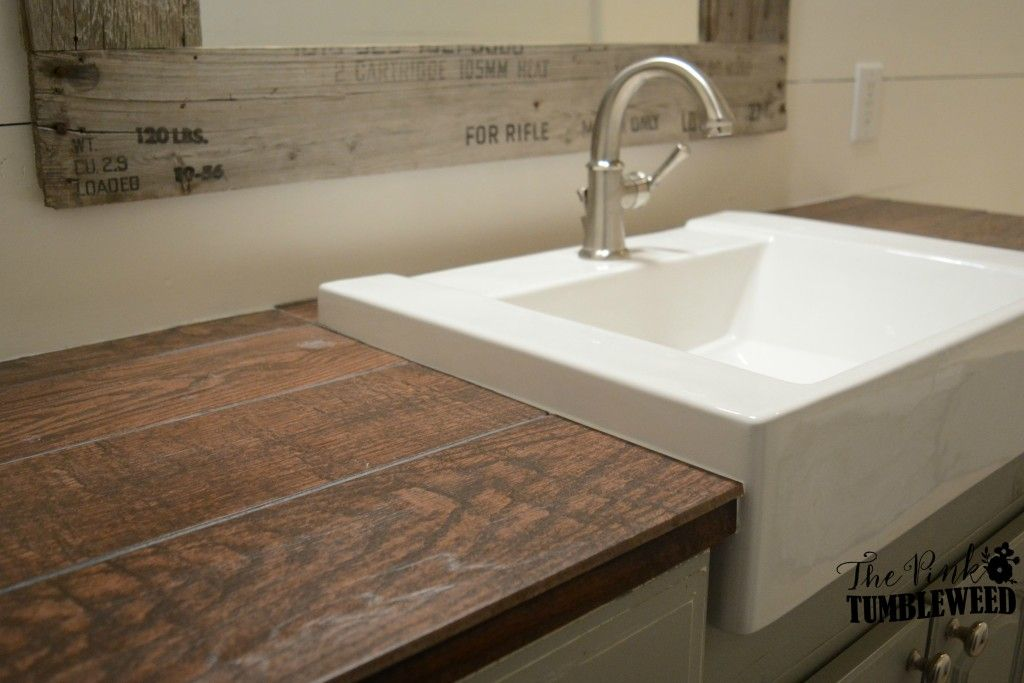 Wood Look Ceramic Tile Countertop With