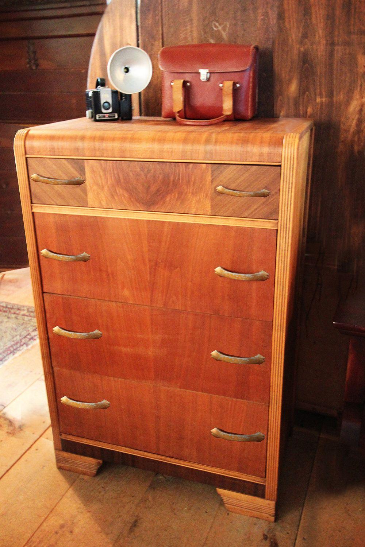 Vintage Furniture, 1930's Walnut High Boy Dresser. 725.00