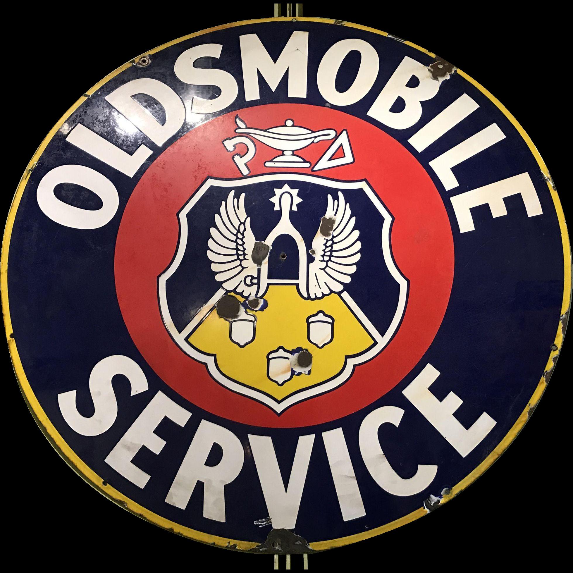 Oldsmobile Service Station  Round Sign Garage Art