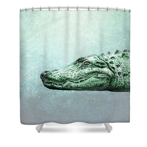 Alligator Shower Curtain Soft Teal Grunge By Folkandfunky On Etsy