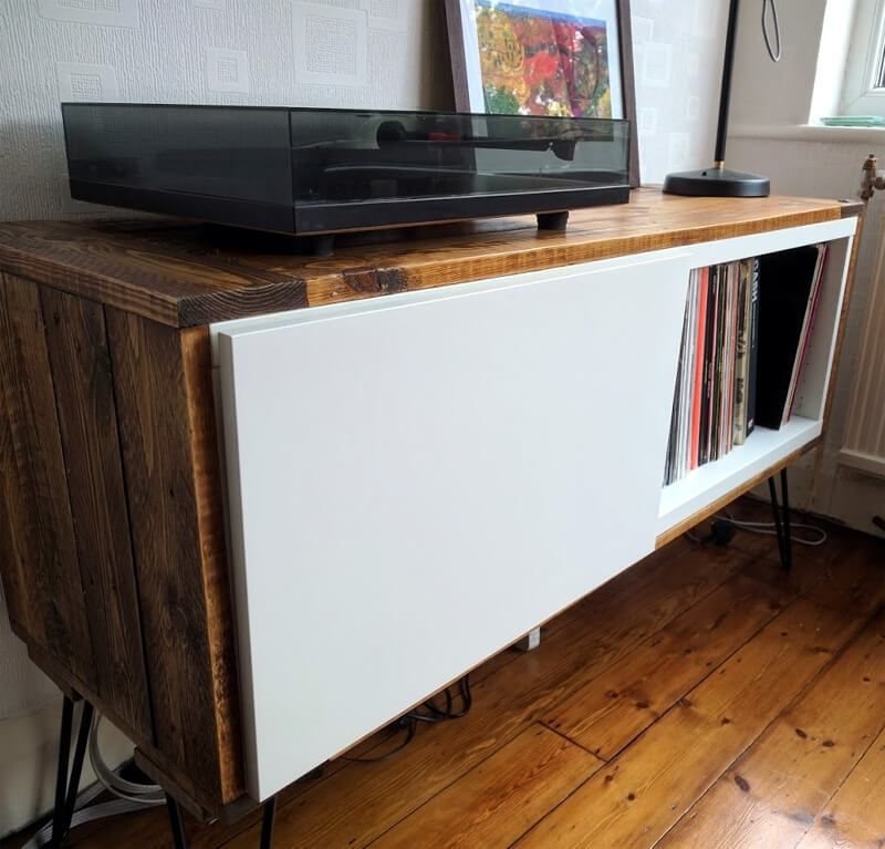 Record Player Stand From IKEA BESTÅ And Pallet Wood