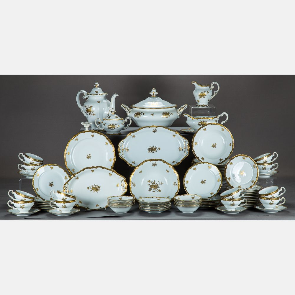 LOT 267 WEIMAR PORZELLAN SERVICE Est: $200-400 Description A Weimar Porzellan Porcelain Dinner Service for Twelve in the Katharina 17010 Pattern, 20th Century, Comprising of 12 teacups dia: 3 5/8 in.,12 saucers dia: 6 in., 12 bread plates dia: 6 3/4 in., 12 salad plates dia: 7 1/2 in.,12 dinner plates dia: 10 1/4 in., 12 bowls dia: 8 1/2 in., 12 bowls dia: 5 in., 1 bowl dia: 9 3/4 in., 1 oval platter l: 12 in., 1 oval platter l: 14 in. and a tureen: h: 10 x w: 14 x d: 12 in.