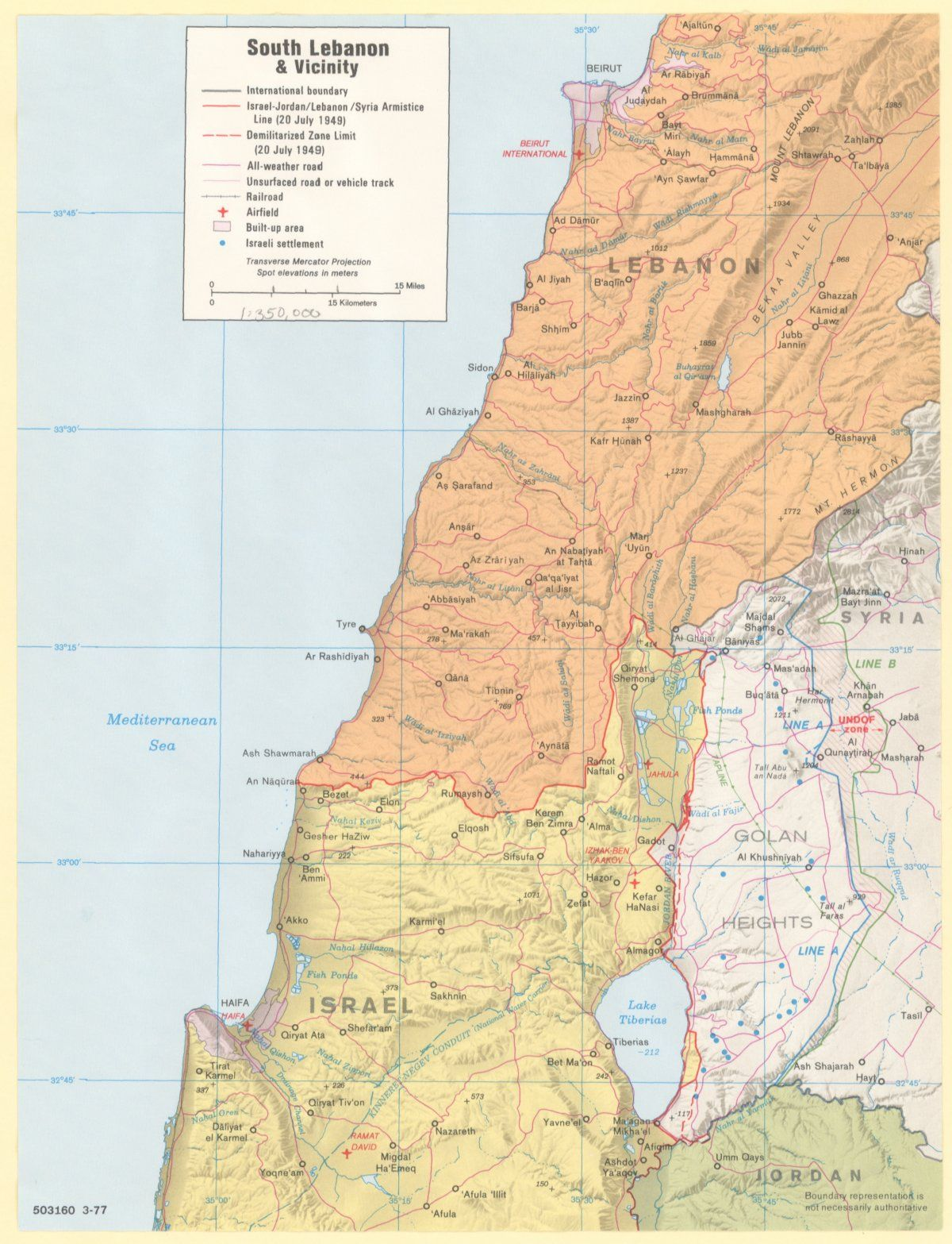 These declassified maps show how the cia saw the world at the height southern lebanon and environs in 1977 gumiabroncs Image collections