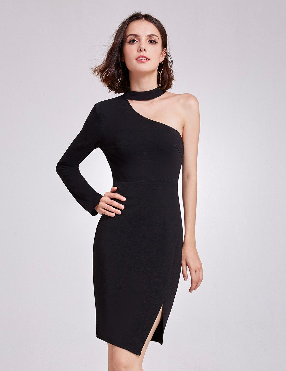 50ac0cc49af7 Alisa Pan One Shoulder Short LBD | Ever-Pretty #partydress #partydresses  #EverPretty #oneshoulderdress #blackdress