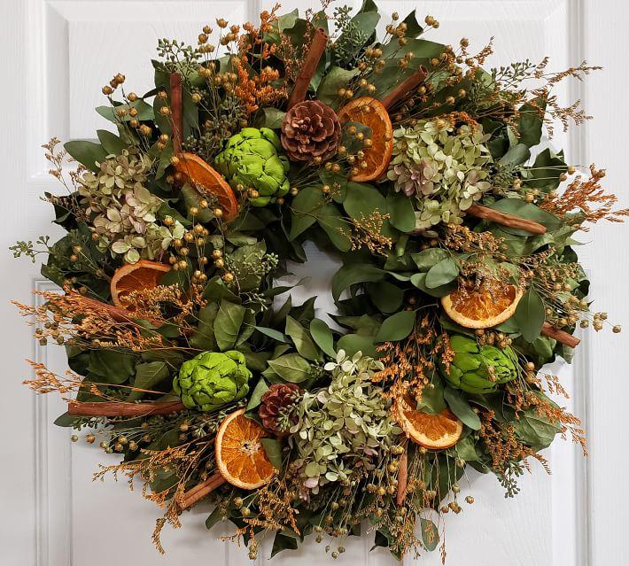 Fresh Eucalyptus Mixed Wreath With Dried Fruit Pottery Barn In 2020 Fresh Eucalyptus Wreaths Fruit Wreath