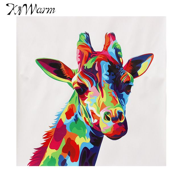 Kiwarm Moderne Abstrait Animal Couleurs Girafe Peinture à Lhuile