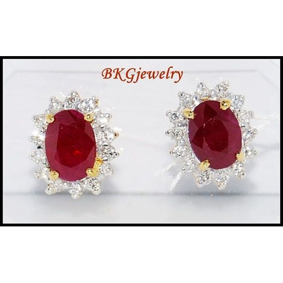 Undefined Genuine Diamond Gemstone Stud Yellow Gold Ruby By Bkgjewels