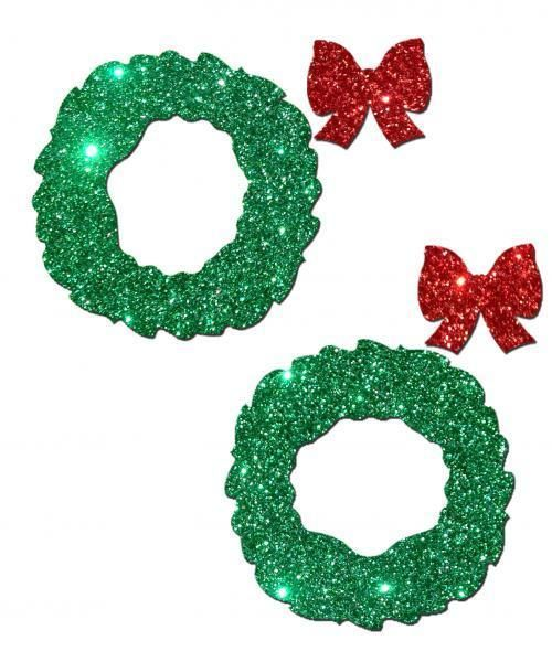 Pasties Christmas Glitter Wreath Green Red Bow Holiday Nipple Cover