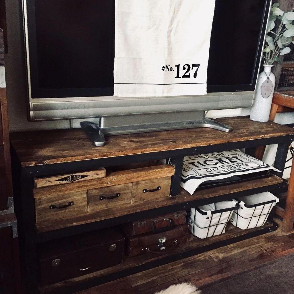 テレビボードdiy 木目 黒でカッコイイテレビボード作り インテリア 男前インテリア テレビ インテリア