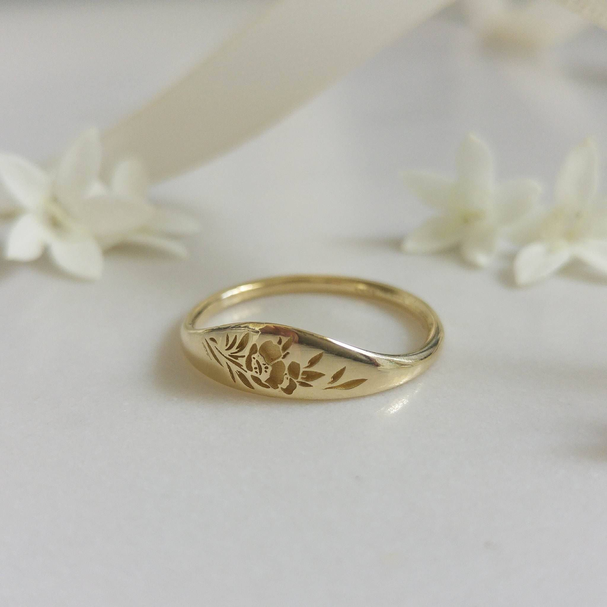 Photo of Gold flower signet ring, vintage style floral crown ring for women, Unique Gold wedding ring, 14k gold wedding band, flower wedding band